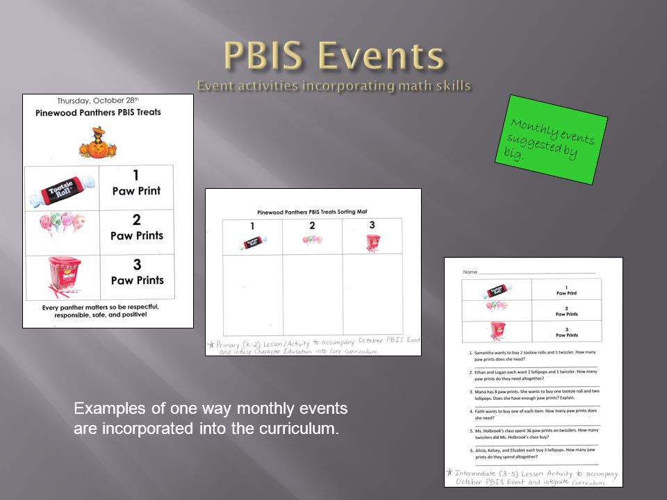 Monthly events suggested by big. Examples of one way monthly events are incorporated into the curriculum.