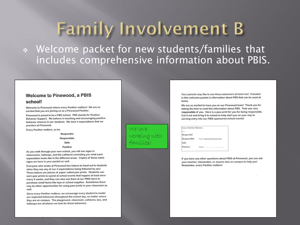 Welcome packet for new students/families that includes comprehensive information about PBIS. We love working with families!