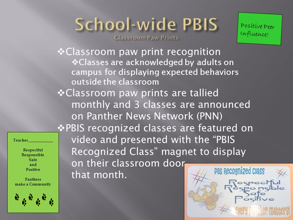 PBIS section featured in every monthly newsletter to sent to families.