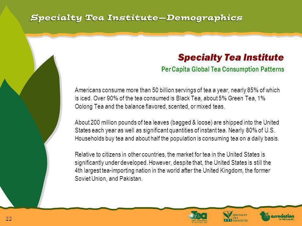23 Per Capita Global Tea Consumption Patterns On a per capita basis, the following statistics will put the U.S.