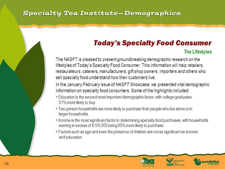 38 Todays Specialty Food Consumer The Lifestyles The NASFT is pleased to present groundbreaking demographic research on the lifestyles of Todays Specialty Food Consumer.