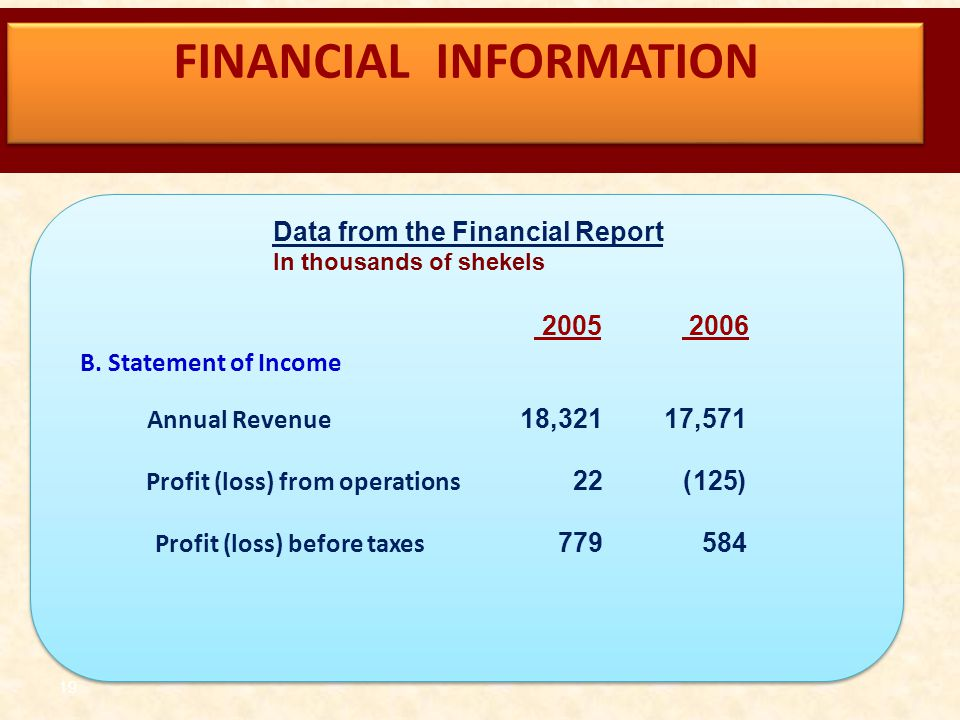 19 Data from the Financial Report In thousands of shekels B. Statement of Income 17,571 Annual Revenue 18,321 (125) Profit (loss) from operations 22 5