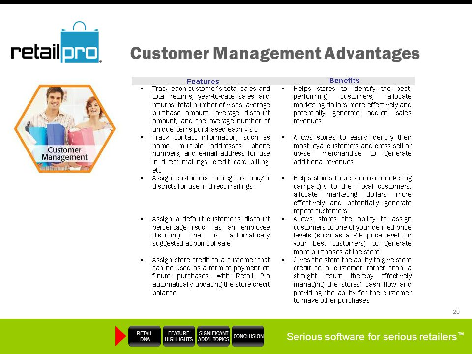 Serious software for serious retailers RETAIL DNA FEATURE HIGHLIGHTS SIGNIFICANT ADDL TOPICS CONCLUSION 20 Customer Management Advantages