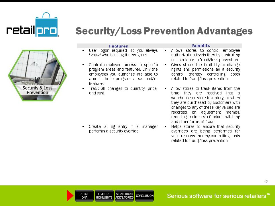 Serious software for serious retailers RETAIL DNA FEATURE HIGHLIGHTS SIGNIFICANT ADDL TOPICS CONCLUSION 40 Security/Loss Prevention Advantages