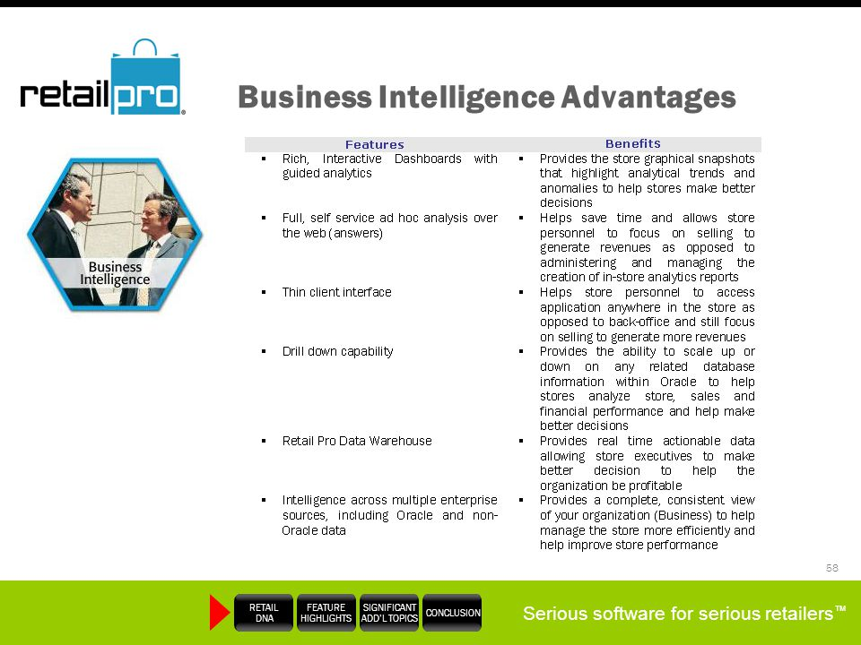 Serious software for serious retailers RETAIL DNA FEATURE HIGHLIGHTS SIGNIFICANT ADDL TOPICS CONCLUSION 58 Business Intelligence Advantages