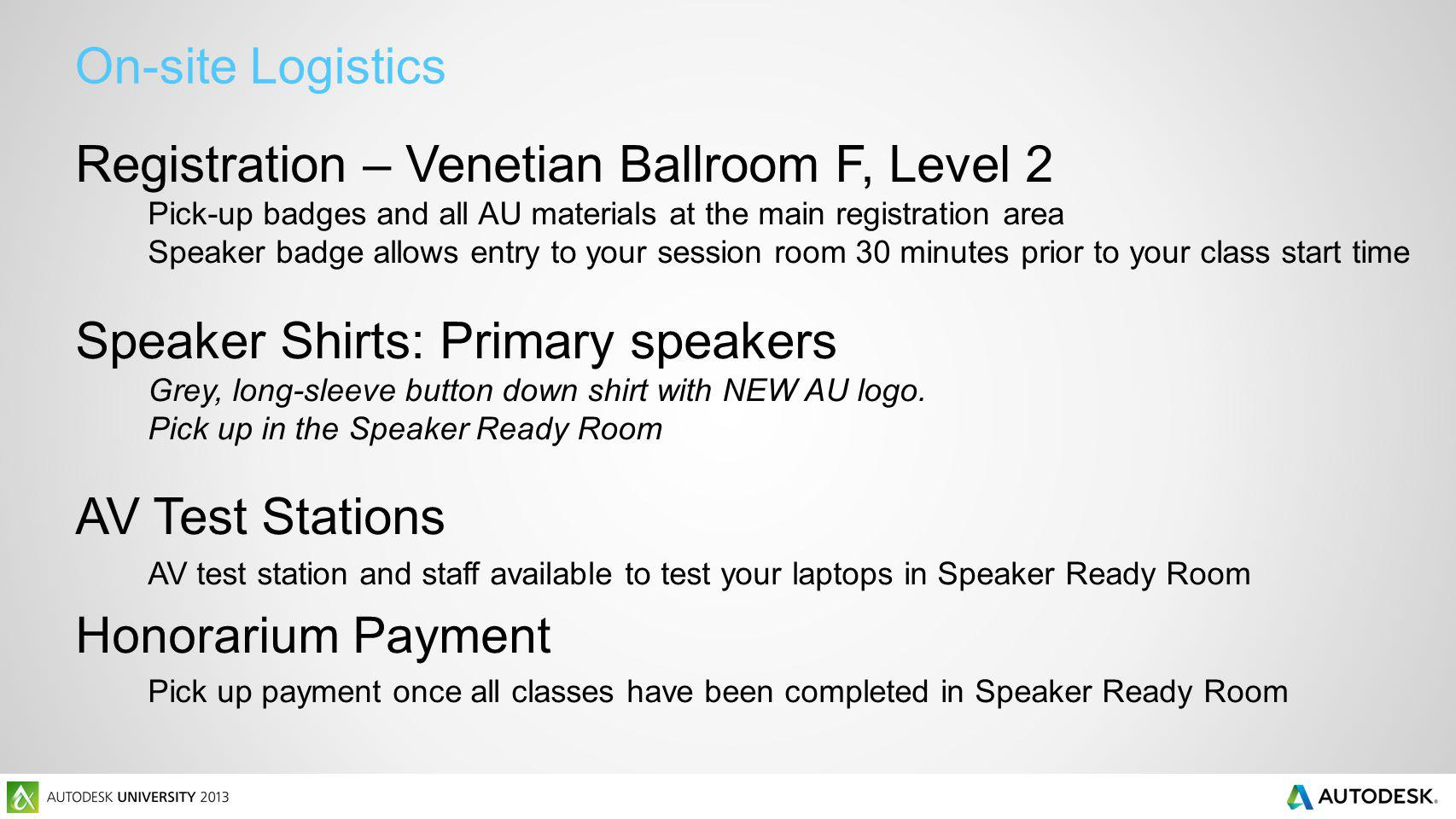 On-site Logistics Registration – Venetian Ballroom F, Level 2 Pick-up badges and all AU materials at the main registration area Speaker badge allows e