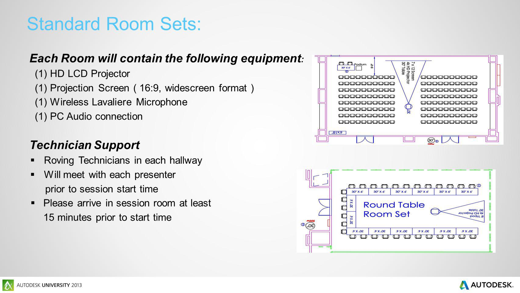 Standard Room Sets: Each Room will contain the following equipment : (1) HD LCD Projector (1) Projection Screen ( 16:9, widescreen format ) (1) Wireless Lavaliere Microphone (1) PC Audio connection Technician Support Roving Technicians in each hallway Will meet with each presenter prior to session start time Please arrive in session room at least 15 minutes prior to start time