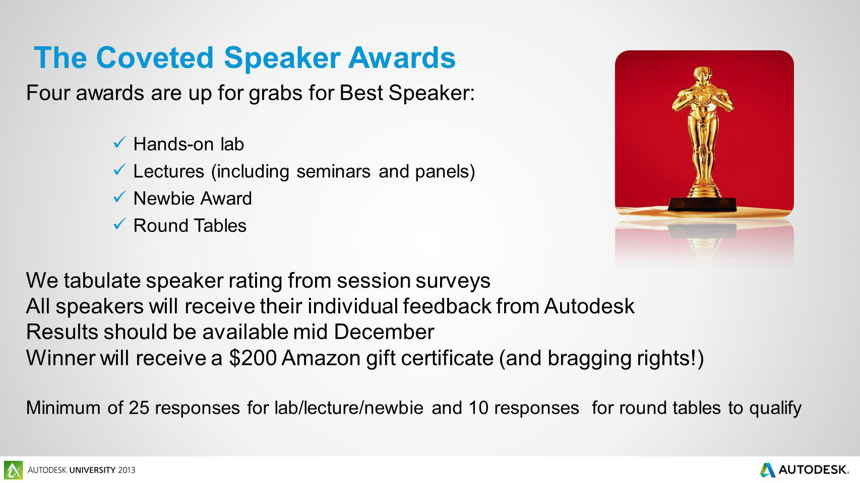 The Coveted Speaker Awards Four awards are up for grabs for Best Speaker: Hands-on lab Lectures (including seminars and panels) Newbie Award Round Tab