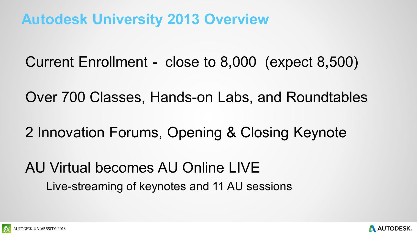 Autodesk University 2013 Overview Current Enrollment - close to 8,000 (expect 8,500) Over 700 Classes, Hands-on Labs, and Roundtables 2 Innovation For