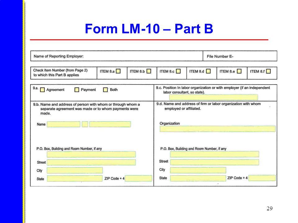 29 Form LM-10 – Part B