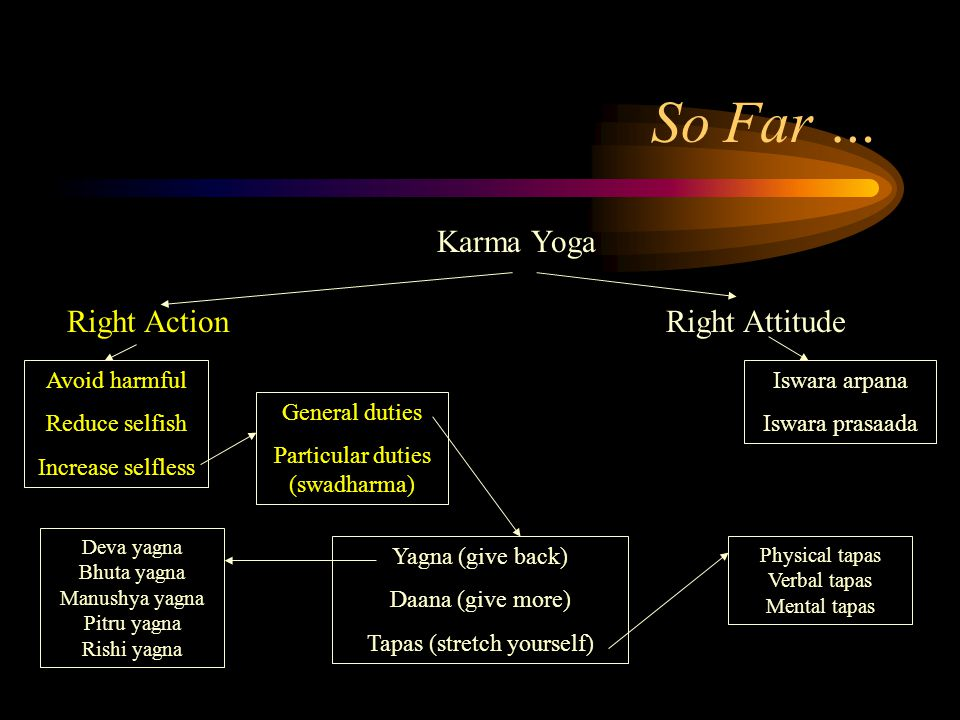 So Far … Karma Yoga Right Action Avoid harmful Reduce selfish Increase selfless Right Attitude General duties Particular duties (swadharma) Yagna (giv