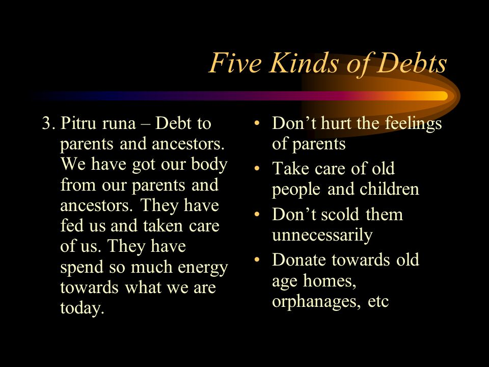 Five Kinds of Debts 3. Pitru runa – Debt to parents and ancestors.