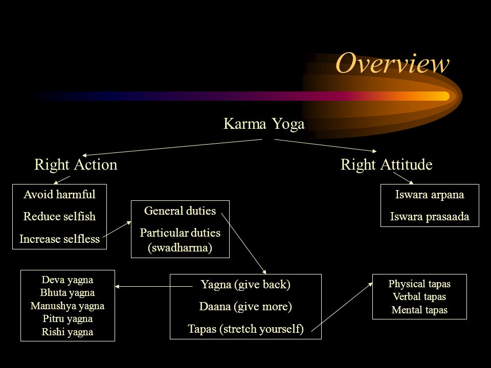 Overview Karma Yoga Right Action Avoid harmful Reduce selfish Increase selfless Right Attitude General duties Particular duties (swadharma) Yagna (give back) Daana (give more) Tapas (stretch yourself) Iswara arpana Iswara prasaada Deva yagna Bhuta yagna Manushya yagna Pitru yagna Rishi yagna Physical tapas Verbal tapas Mental tapas