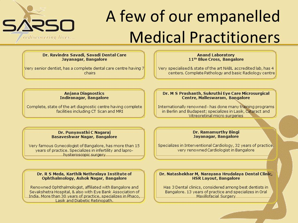 A few of our empanelled Medical Practitioners List includes many well known doctors in various other major cities like, Secunderabad, Hyderabad, Kolkata, Ahemdabad.