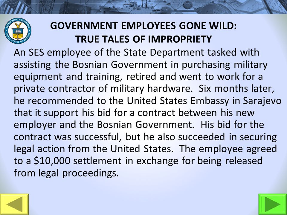GOVERNMENT EMPLOYEES GONE WILD: TRUE TALES OF IMPROPRIETY An SES employee of the State Department tasked with assisting the Bosnian Government in purc