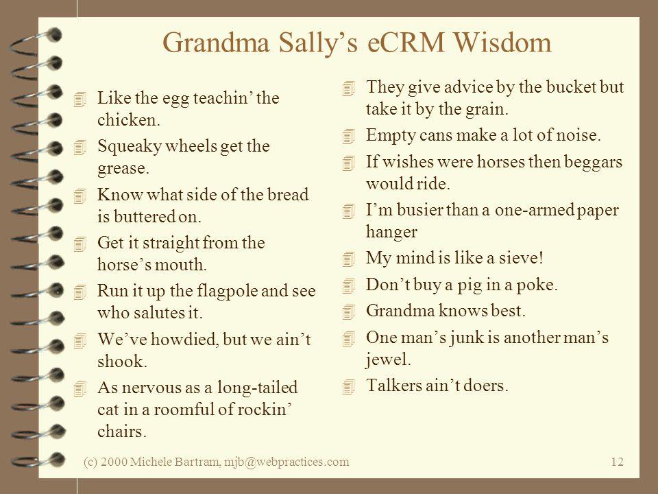(c) 2000 Michele Bartram, mjb@webpractices.com12 Grandma Sallys eCRM Wisdom 4 Like the egg teachin the chicken.