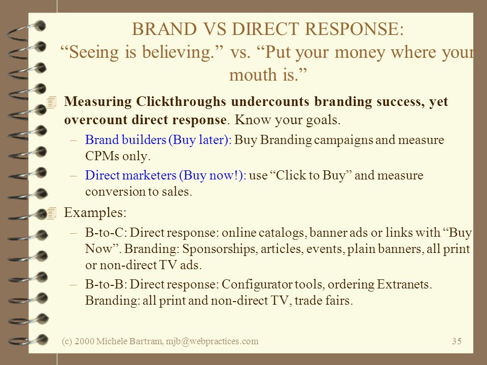(c) 2000 Michele Bartram, mjb@webpractices.com35 BRAND VS DIRECT RESPONSE: Seeing is believing.