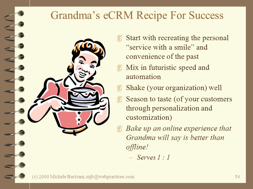 (c) 2000 Michele Bartram, mjb@webpractices.com54 Grandmas eCRM Recipe For Success 4 Start with recreating the personal service with a smile and convenience of the past 4 Mix in futuristic speed and automation 4 Shake (your organization) well 4 Season to taste (of your customers through personalization and customization) 4 Bake up an online experience that Grandma will say is better than offline.