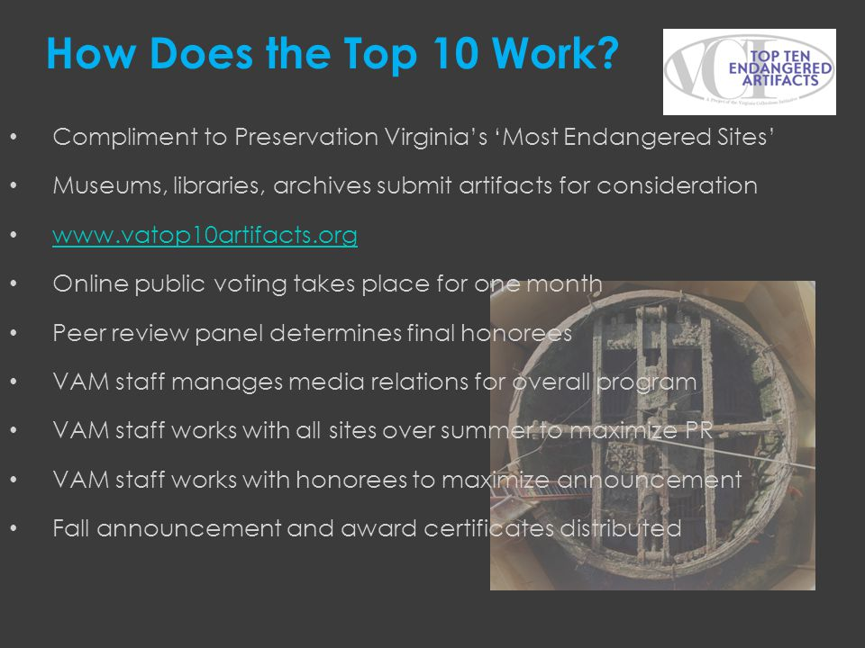 Compliment to Preservation Virginias Most Endangered Sites Museums, libraries, archives submit artifacts for consideration www.vatop10artifacts.org On