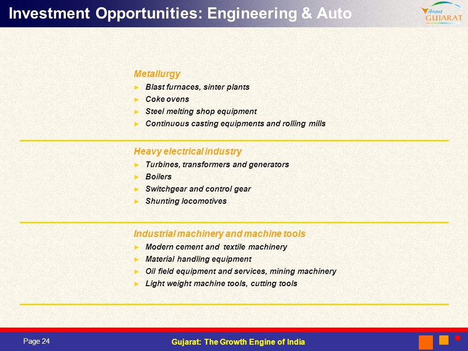 Page 24 Gujarat: The Growth Engine of India Investment Opportunities: Engineering & Auto Heavy electrical industry Turbines, transformers and generators Boilers Switchgear and control gear Shunting locomotives Industrial machinery and machine tools Modern cement and textile machinery Material handling equipment Oil field equipment and services, mining machinery Light weight machine tools, cutting tools Metallurgy Blast furnaces, sinter plants Coke ovens Steel melting shop equipment Continuous casting equipments and rolling mills