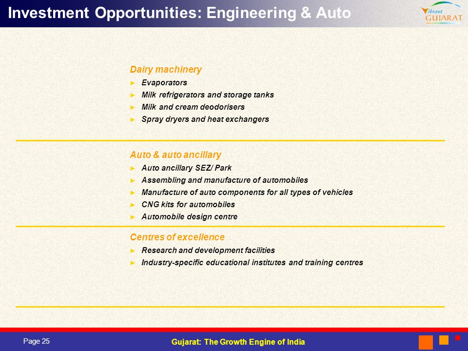 Page 25 Gujarat: The Growth Engine of India Dairy machinery Evaporators Milk refrigerators and storage tanks Milk and cream deodorisers Spray dryers and heat exchangers Auto & auto ancillary Auto ancillary SEZ/ Park Assembling and manufacture of automobiles Manufacture of auto components for all types of vehicles CNG kits for automobiles Automobile design centre Centres of excellence Research and development facilities Industry-specific educational institutes and training centres Investment Opportunities: Engineering & Auto