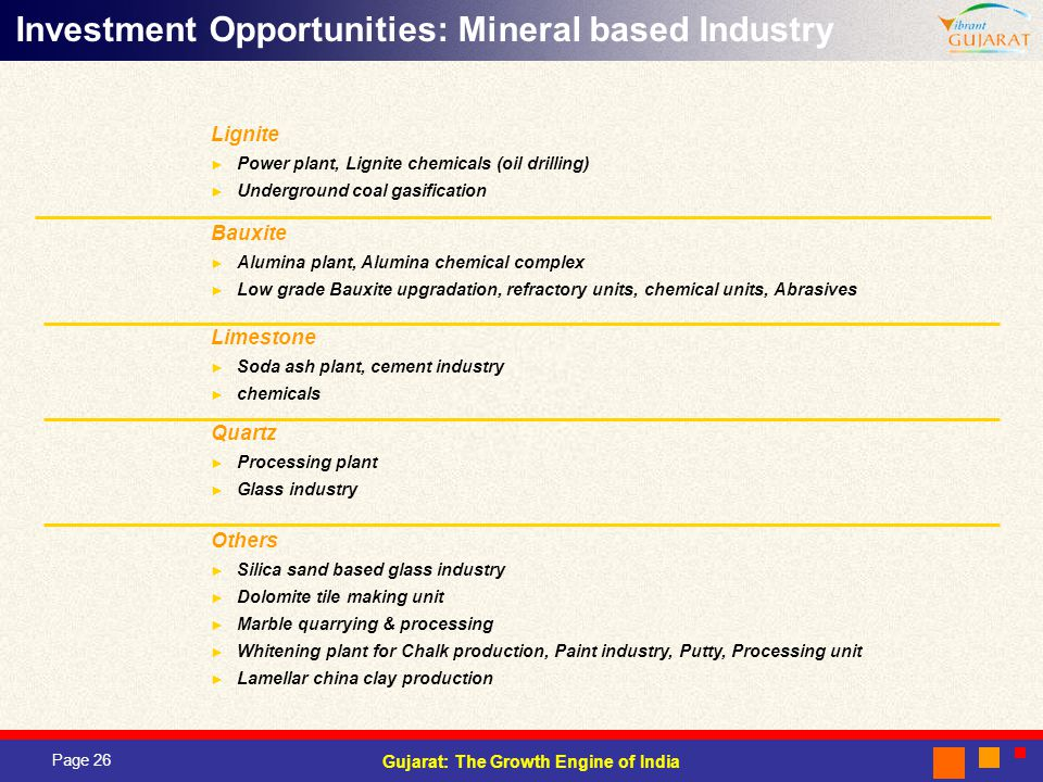 Page 26 Gujarat: The Growth Engine of India Investment Opportunities: Mineral based Industry Bauxite Alumina plant, Alumina chemical complex Low grade Bauxite upgradation, refractory units, chemical units, Abrasives Lignite Power plant, Lignite chemicals (oil drilling) Underground coal gasification Limestone Soda ash plant, cement industry chemicals Quartz Processing plant Glass industry Others Silica sand based glass industry Dolomite tile making unit Marble quarrying & processing Whitening plant for Chalk production, Paint industry, Putty, Processing unit Lamellar china clay production