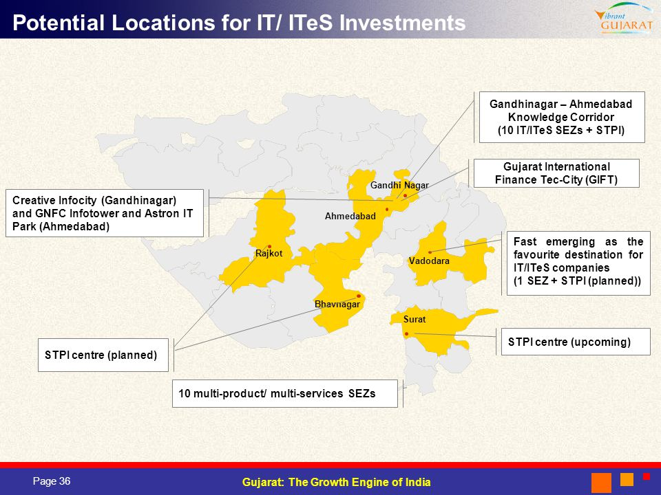 Page 36 Gujarat: The Growth Engine of India Rajkot Ahmedabad Gandhi Nagar Vadodara Surat Bhavnagar Potential Locations for IT/ ITeS Investments Gandhinagar – Ahmedabad Knowledge Corridor (10 IT/ITeS SEZs + STPI) Fast emerging as the favourite destination for IT/ITeS companies (1 SEZ + STPI (planned)) STPI centre (upcoming) STPI centre (planned) Creative Infocity (Gandhinagar) and GNFC Infotower and Astron IT Park (Ahmedabad) Gujarat International Finance Tec-City (GIFT) 10 multi-product/ multi-services SEZs