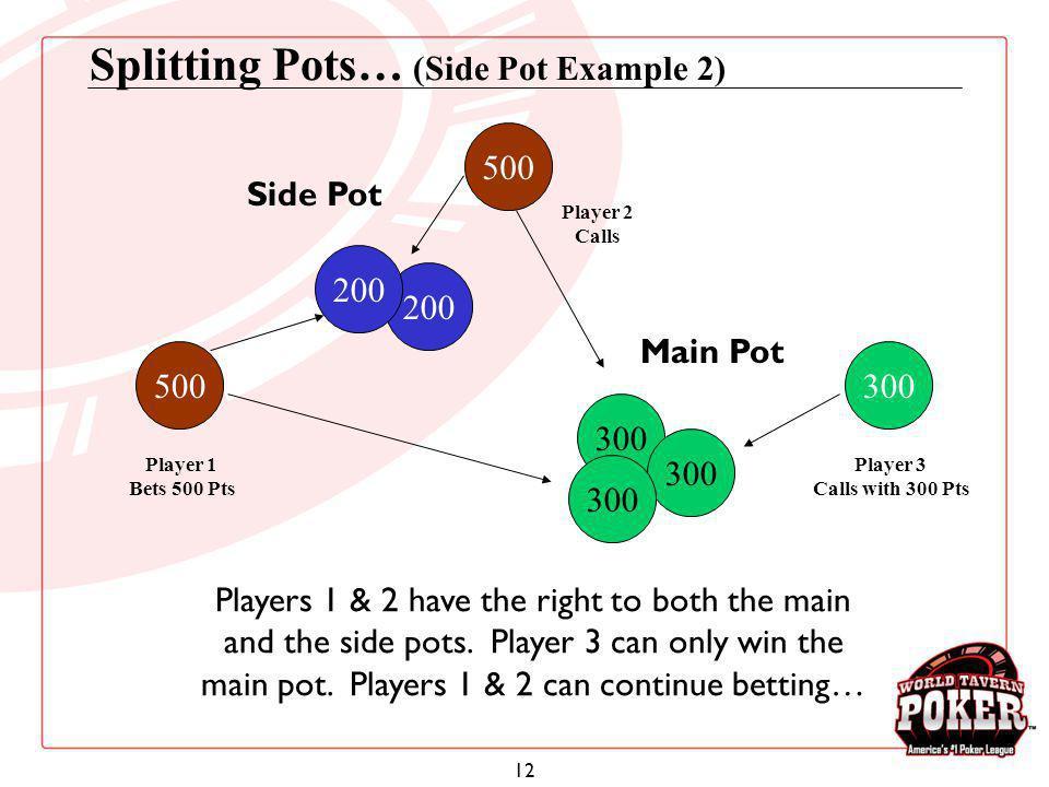 12 Splitting Pots… (Side Pot Example 2) 500 Player 2 Calls 300 Player 3 Calls with 300 Pts 200 Side Pot 300 Player 1 Bets 500 Pts 500 Main Pot Players
