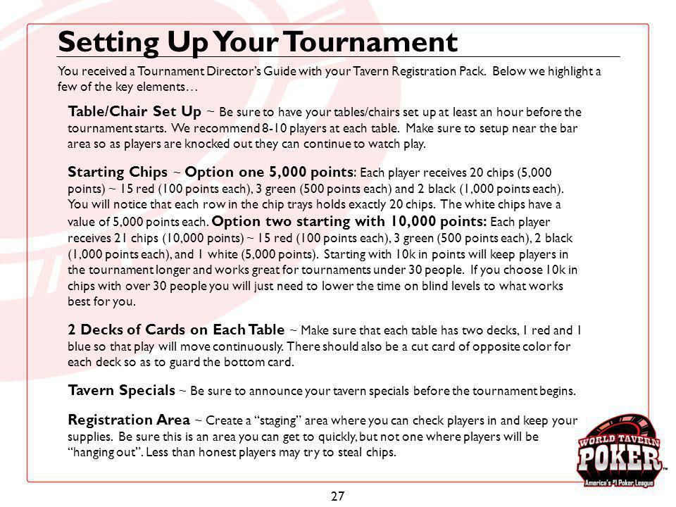 27 Setting Up Your Tournament Table/Chair Set Up ~ Be sure to have your tables/chairs set up at least an hour before the tournament starts. We recomme