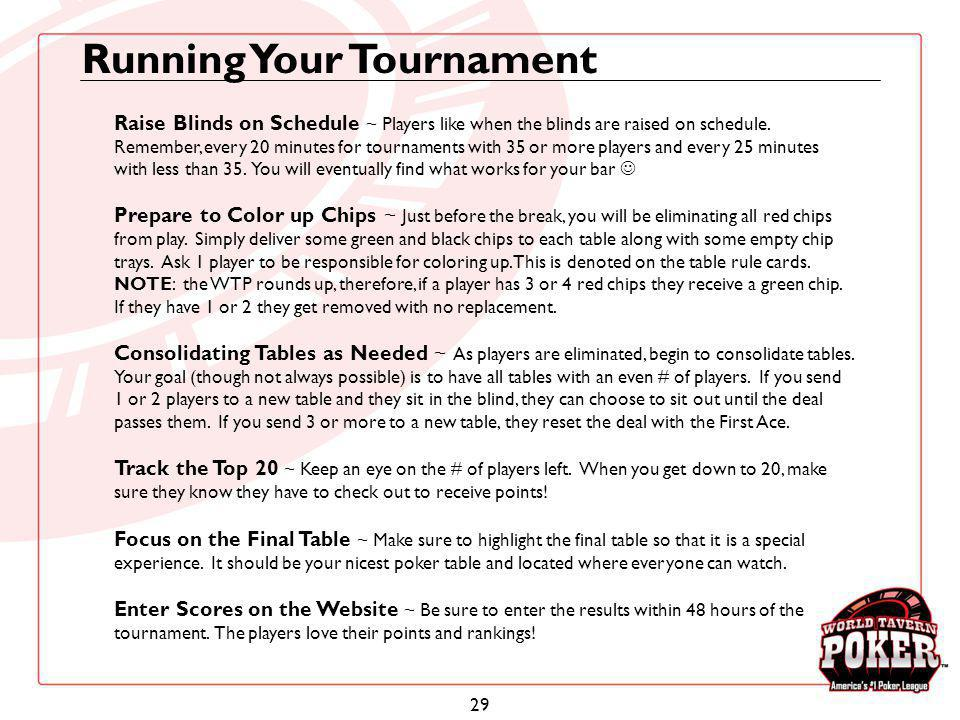 29 Running Your Tournament Raise Blinds on Schedule ~ Players like when the blinds are raised on schedule. Remember, every 20 minutes for tournaments