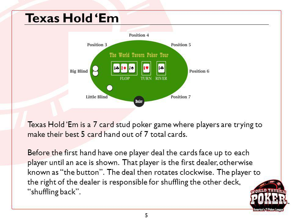 6 Texas Hold Em In Texas Hold Em, there are forced bets known as blinds.