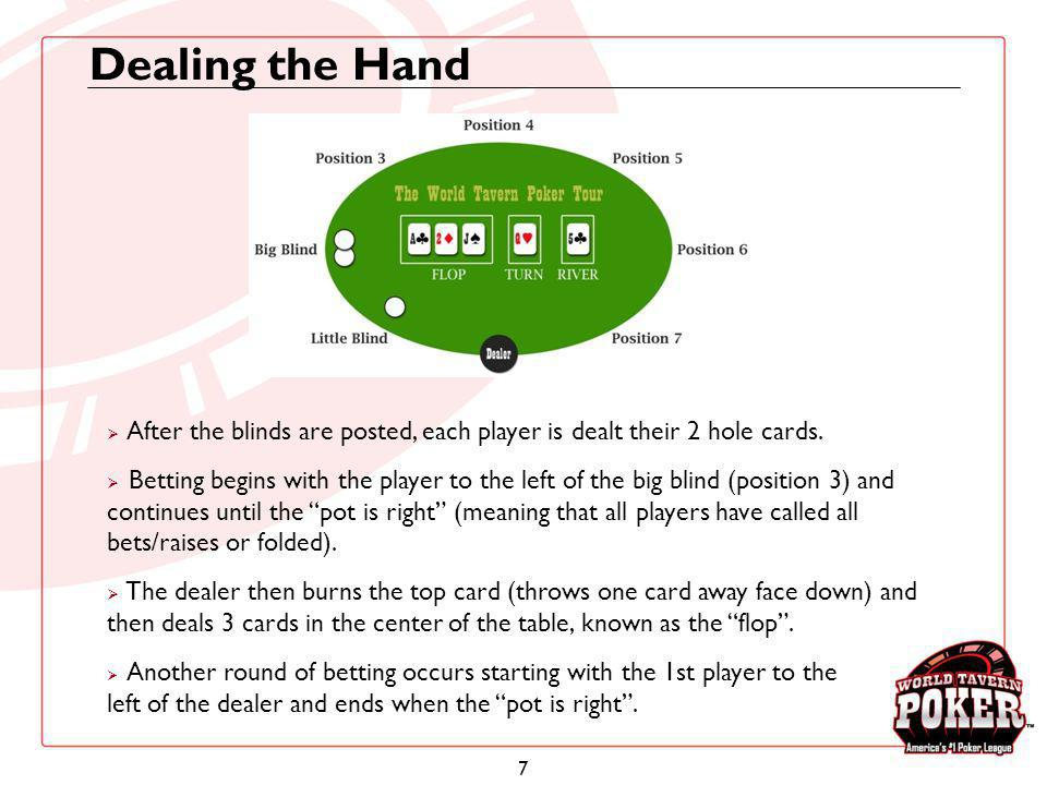 7 Dealing the Hand After the blinds are posted, each player is dealt their 2 hole cards. Betting begins with the player to the left of the big blind (
