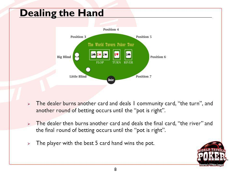 8 Dealing the Hand The dealer burns another card and deals 1 community card, the turn, and another round of betting occurs until the pot is right. The