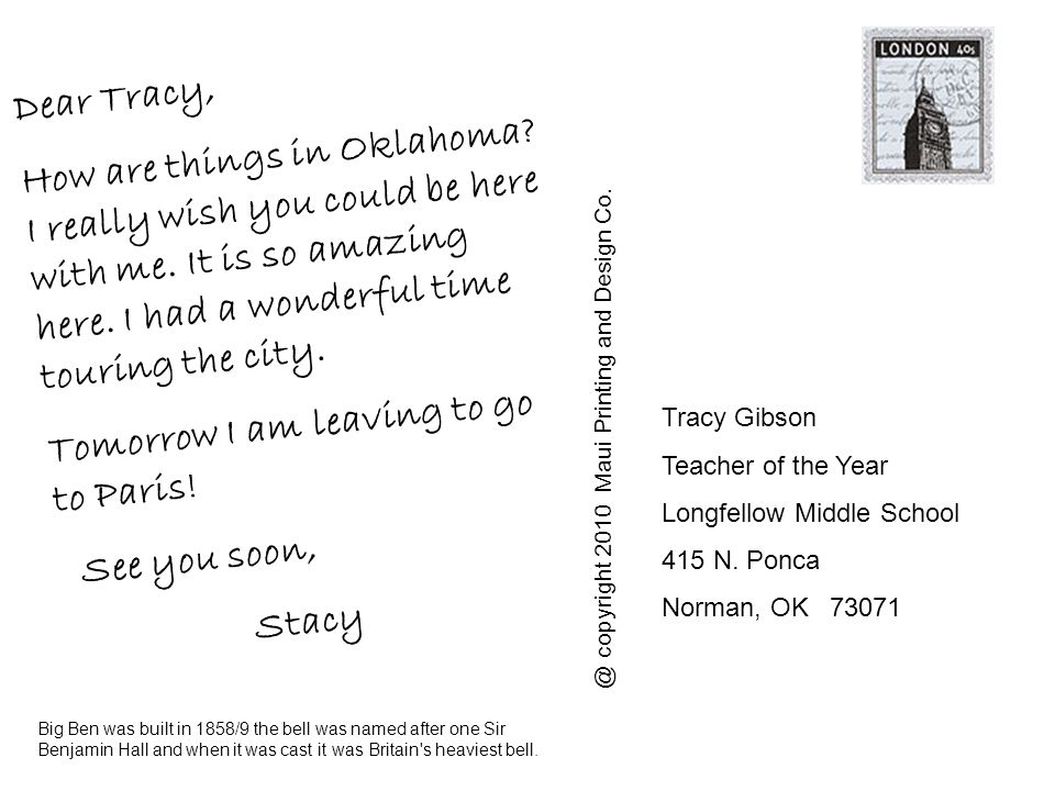 Dear Tracy, How are things in Oklahoma. I really wish you could be here with me.