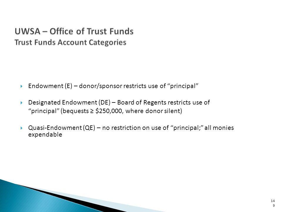 Endowment (E) – donor/sponsor restricts use of principal Designated Endowment (DE) – Board of Regents restricts use of principal (bequests $250,000, w
