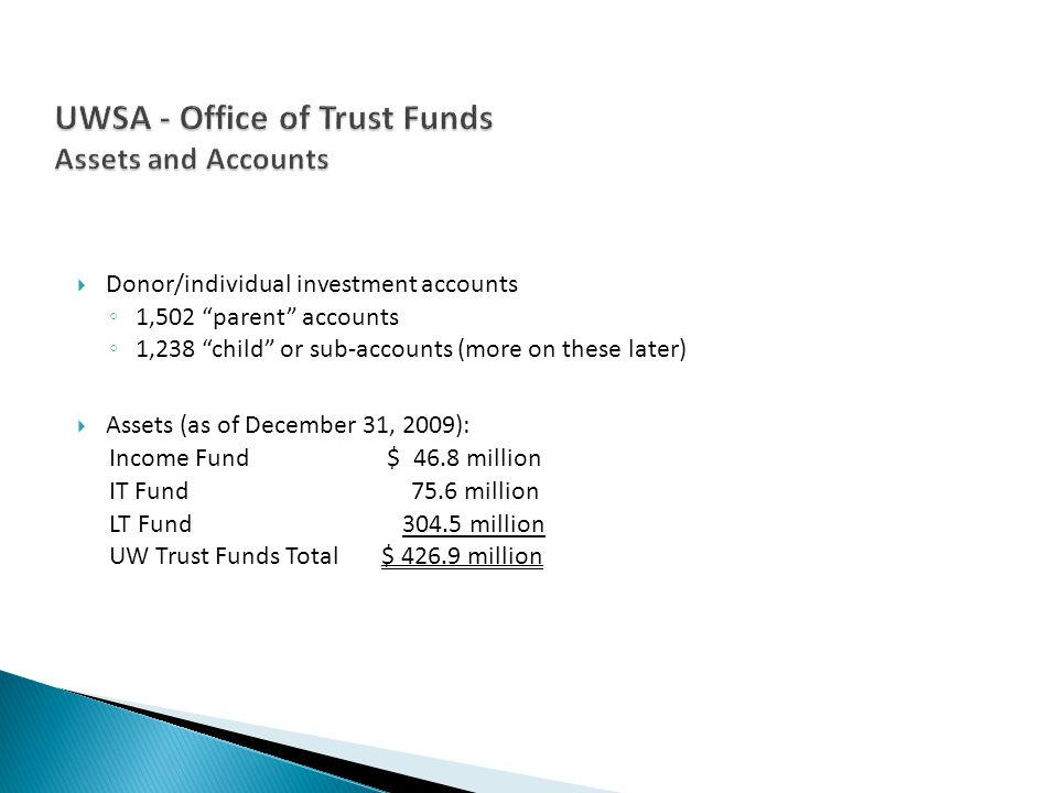 Donor/individual investment accounts 1,502 parent accounts 1,238 child or sub-accounts (more on these later) Assets (as of December 31, 2009): Income Fund $ 46.8 million IT Fund 75.6 million LT Fund 304.5 million UW Trust Funds Total $ 426.9 million
