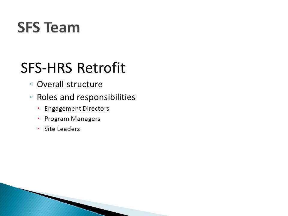 Overall structure Roles and responsibilities Engagement Directors Program Managers Site Leaders