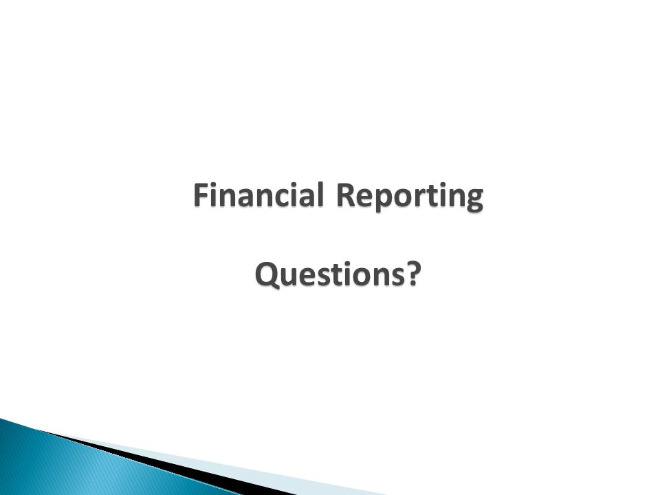 Financial Reporting Questions