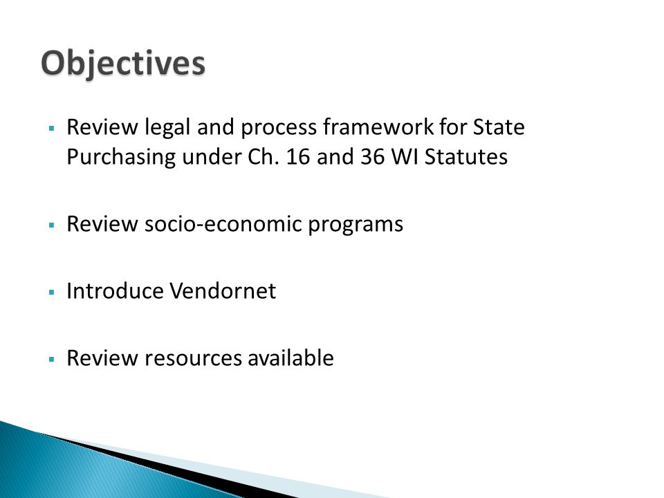 Review legal and process framework for State Purchasing under Ch.