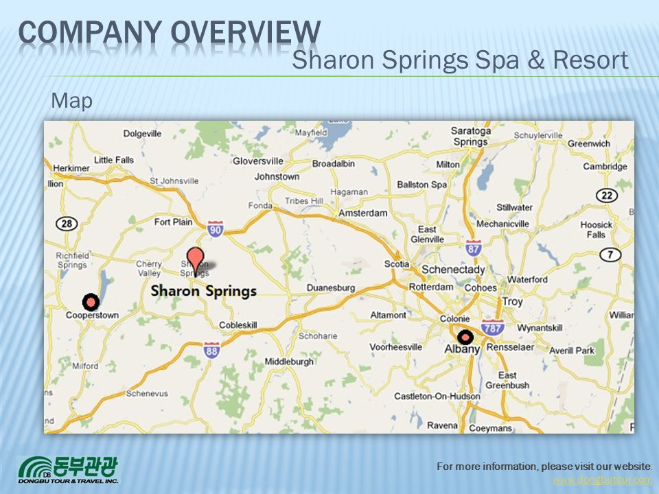 For more information, please visit our website: www.dongbutour.com Sharon Springs Spa & Resort Map