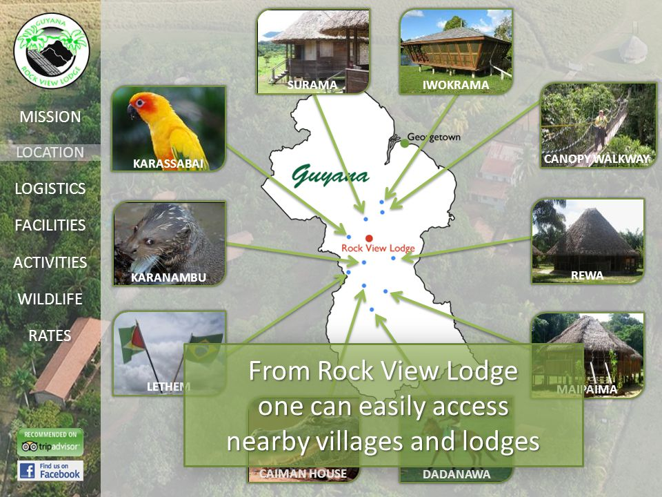 LOCATION FACILITIES ACTIVITIES LOGISTICS WILDLIFE RATES MISSION IWOKRAMASURAMA CANOPY WALKWAY REWA MAIPAIMA DADANAWA CAIMAN HOUSE LETHEM KARANAMBU KARASSABAI From Rock View Lodge one can easily access nearby villages and lodges From Rock View Lodge one can easily access nearby villages and lodges