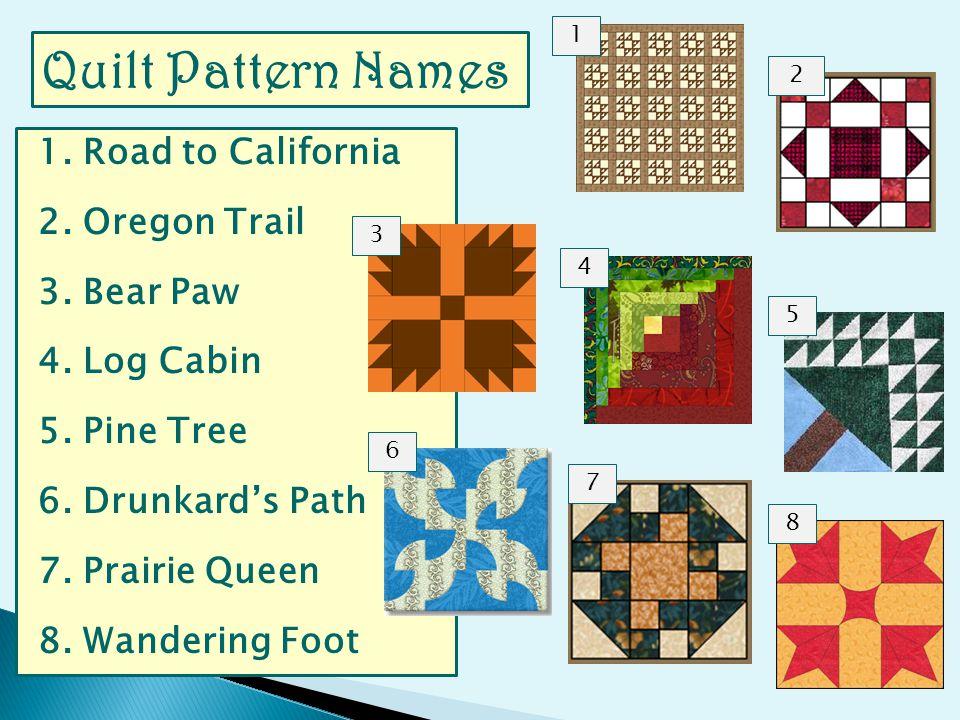 1. Road to California 2. Oregon Trail 3. Bear Paw 4.