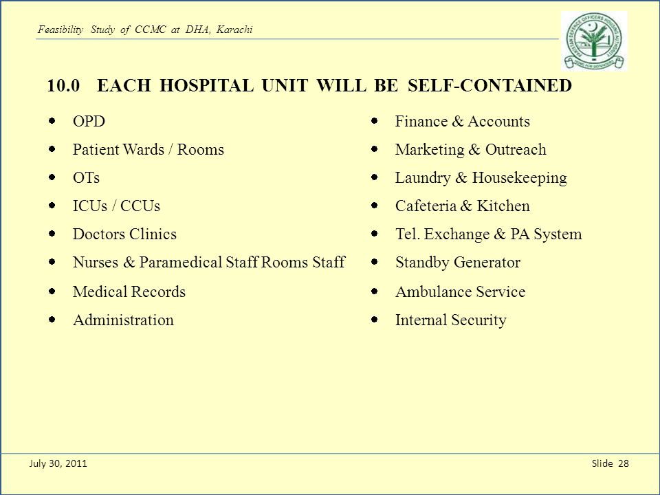 Slide 28 Feasibility Study of CCMC at DHA, Karachi 10.0 EACH HOSPITAL UNIT WILL BE SELF-CONTAINED OPD Finance & Accounts Patient Wards / Rooms Marketi