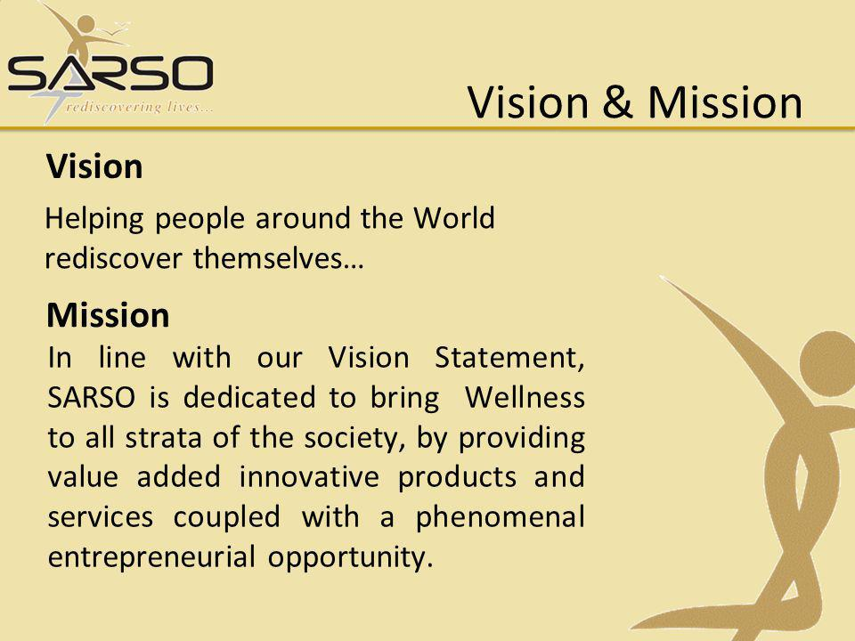 In line with our Vision Statement, SARSO is dedicated to bring Wellness to all strata of the society, by providing value added innovative products and services coupled with a phenomenal entrepreneurial opportunity.