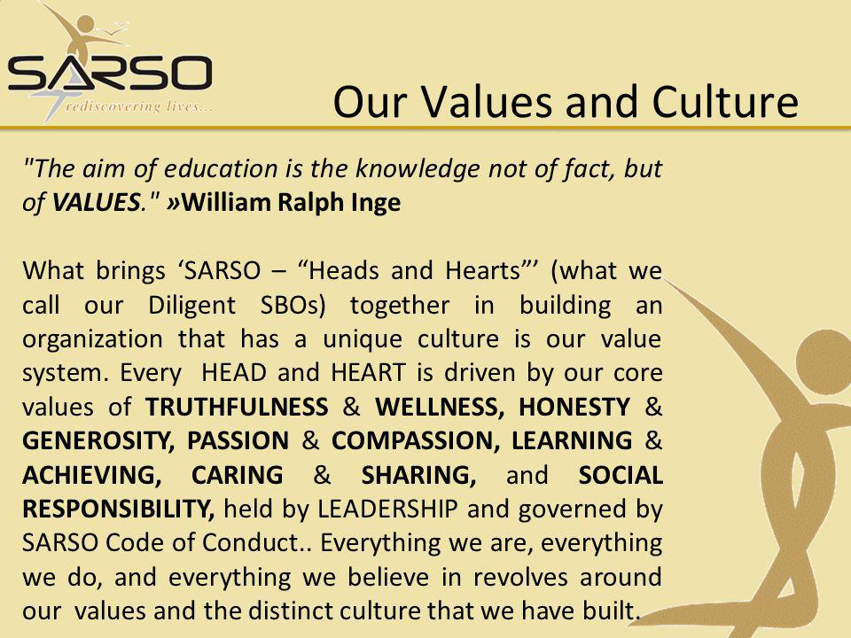 Our Values and Culture The aim of education is the knowledge not of fact, but of VALUES. »William Ralph Inge What brings SARSO – Heads and Hearts (what we call our Diligent SBOs) together in building an organization that has a unique culture is our value system.