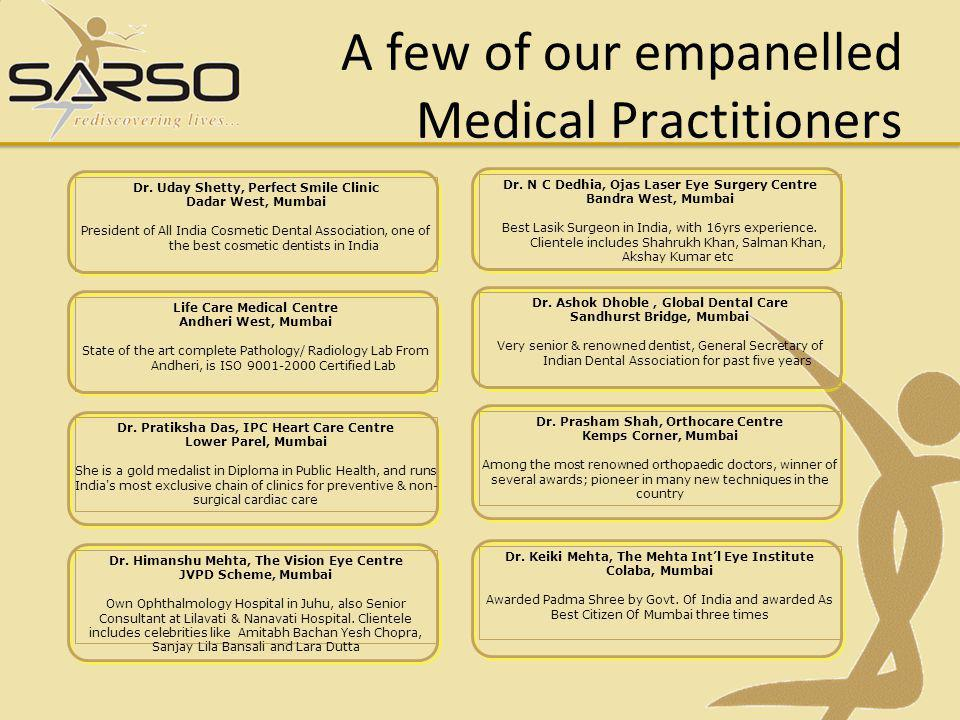 A few of our empanelled Medical Practitioners Dr.