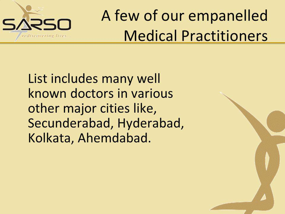 List includes many well known doctors in various other major cities like, Secunderabad, Hyderabad, Kolkata, Ahemdabad.