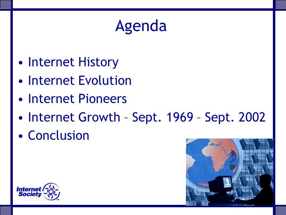 Agenda Internet History Internet Evolution Internet Pioneers Internet Growth – Sept. 1969 – Sept. 2002 Conclusion
