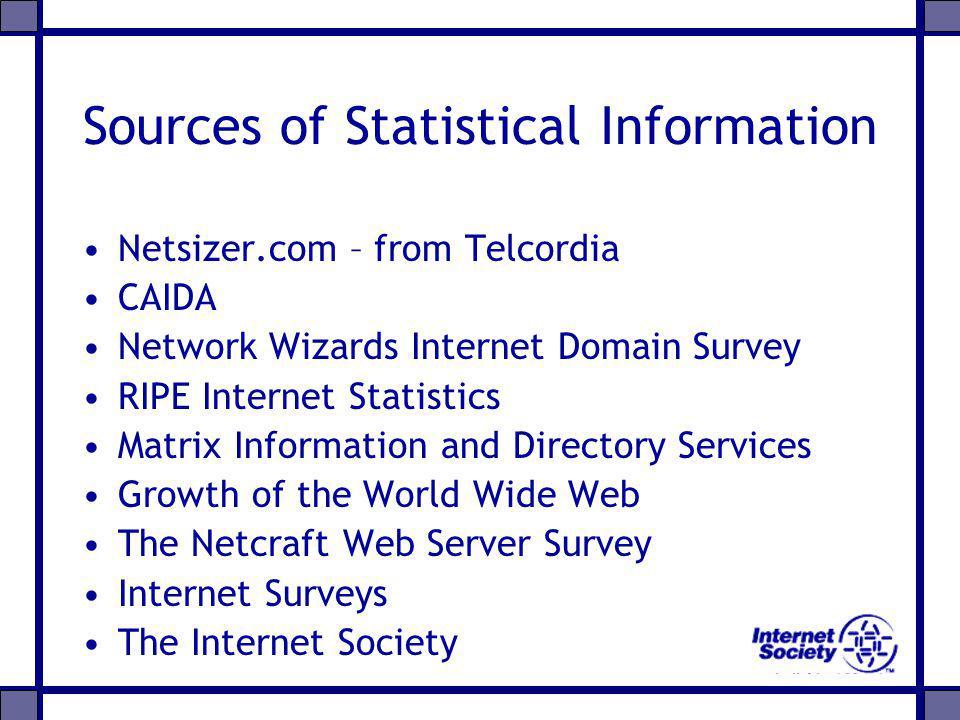 Sources of Statistical Information Netsizer.com – from Telcordia CAIDA Network Wizards Internet Domain Survey RIPE Internet Statistics Matrix Informat