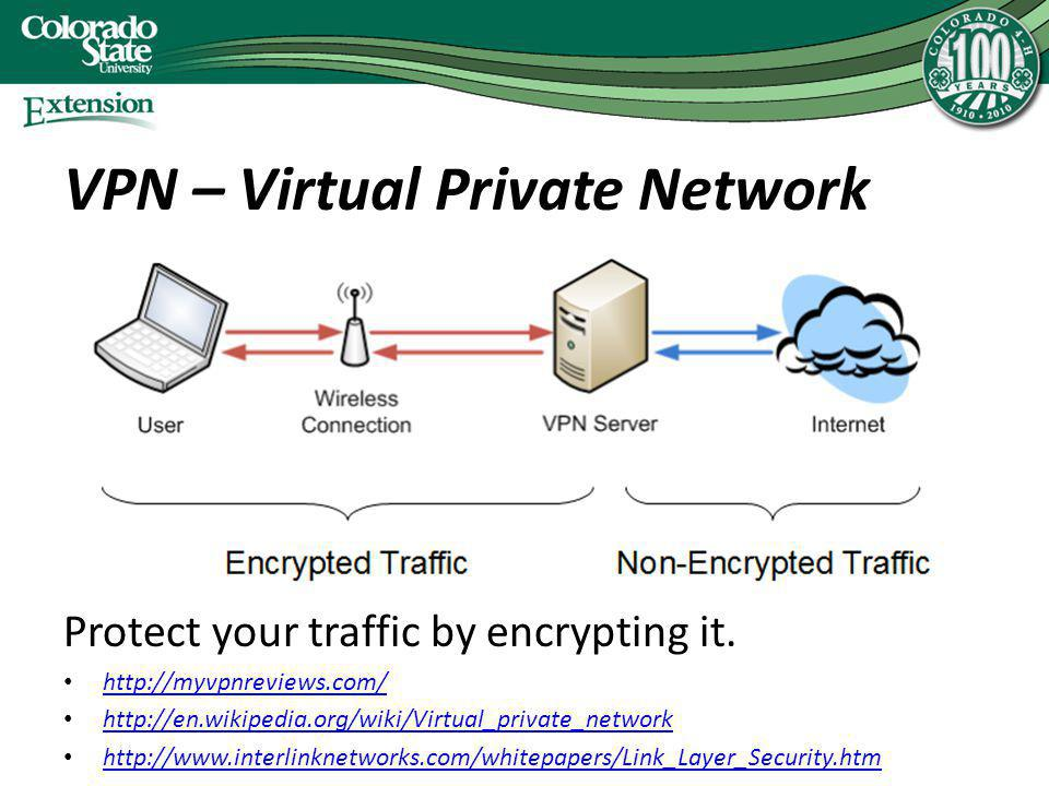 VPN – Virtual Private Network Protect your traffic by encrypting it. http://myvpnreviews.com/ http://en.wikipedia.org/wiki/Virtual_private_network htt